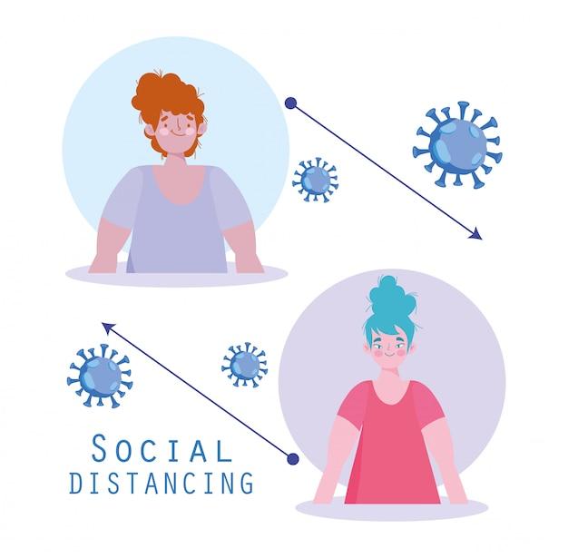 Covid 19, sociale afstand, mensen, preventieve maatregelen tegen coronavirus pandemie