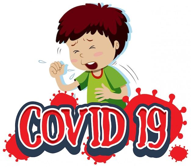 Covid 19 teken sjabloon met hoesten jongen