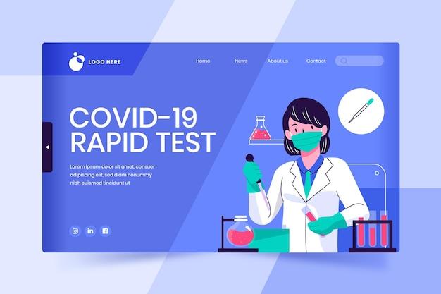Covid-19 test bestemmingspagina-ontwerp