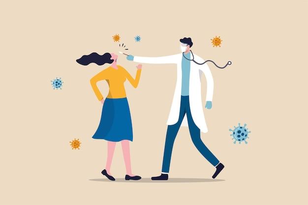 Covid-19-test, coronavirus-bemonstering door neus uit mond of neus te nemen en het virusconcept te diagnosticeren, arts of medisch personeel met behulp van covid-19-test met vrouwelijke patiënt in de buurt met coronavirus-pathogeen.