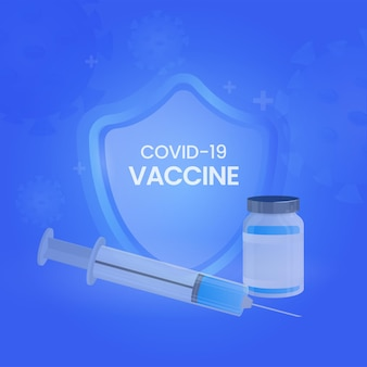 Covid-19 vaccin concept met veiligheidsschild, spuit en vaccin fles op blauwe achtergrond.