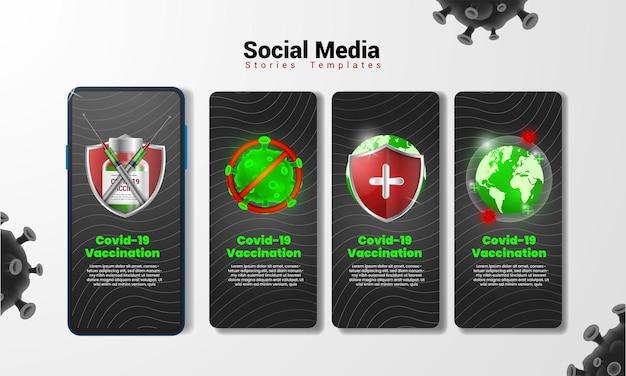 Covid-19 vaccinatie social media verhalen sjabloon voor uw creativiteit