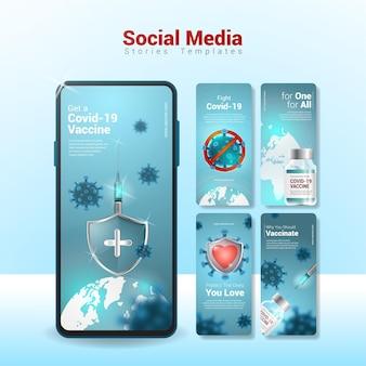 Covid-19 vaccinatie social media verhalen sjabloon