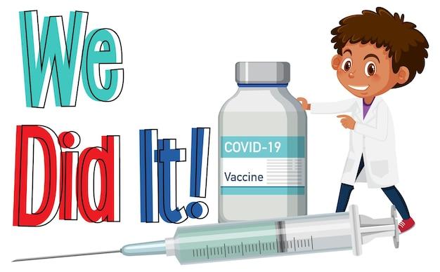 Covid-19 vaccinatieconcept met een stripfiguur van een arts