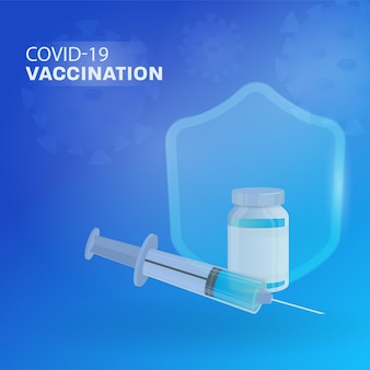 Covid-19 vaccinatieconcept met vaccinfles, spuit en veiligheidsschild op blauwe virus aangetaste achtergrond.