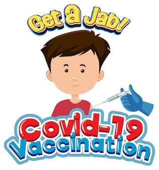 Covid-19 vaccinatielettertype met een jongen die covid-19-vaccin krijgt