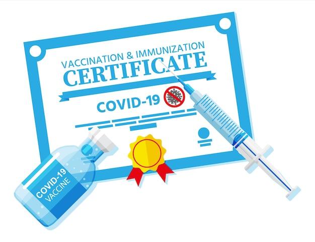 Covid-19 vaccinatiepaspoort. gevaccineerd gezondheidsdocument als bewijs dat persoon immuun is voor ziekten.
