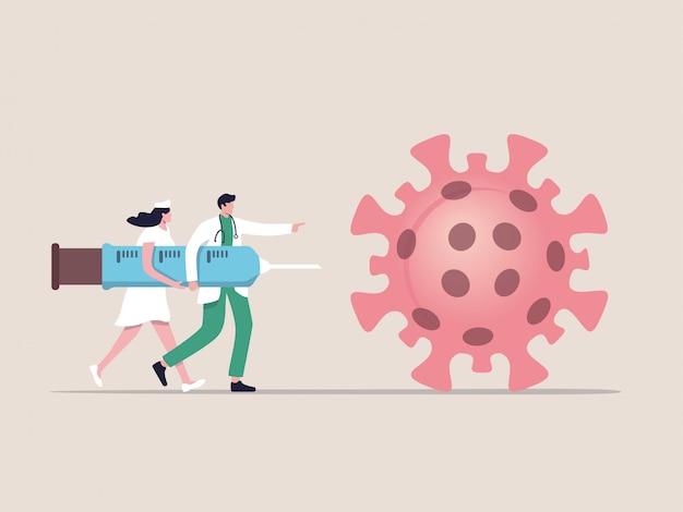 Covid-19-vaccinbehandeling of medicijn om het coronavirusconcept te genezen, arts, verpleegkundige en patiënt helpen covid-19-vaccinspuit en -naald te dragen en lopen om virus te doden, plat ontwerp
