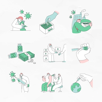 Covid 19 vaccinontwikkeling doodles illustratie