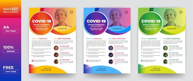 Covid-19 virtuaal seminar flyer ontwerpsjabloon