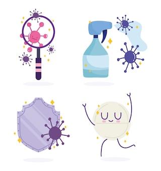 Covid 19 virus cartoons collectieontwerp van 2019 ncov cov en coronavirus-thema