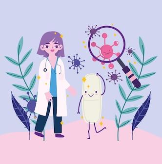 Covid 19-virus en vrouwelijke arts met cartoonontwerp van lupe en pil van 2019 ncov cov en coronavirus-thema