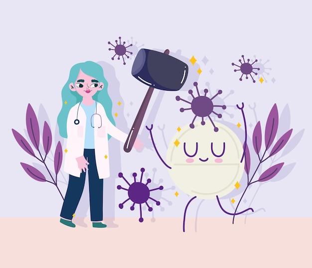 Covid 19-virus en vrouwelijke arts met hamer en pil cartoonontwerp van 2019 ncov cov en coronavirus-thema