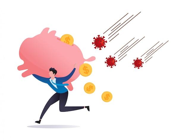 Covid-19 virus impact beurs paniek verkopen, risico af of investeerder verkoopt in financiële crisis, investeerder rent weg van covid-19 coronavirus pathogeen met enorme spaarvarken op schouder, dollar geld valt.