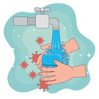 Covid 19-virus op handen wassen met zeep- en waterkraanontwerp, hygiëne, gezondheid en schoon wassen