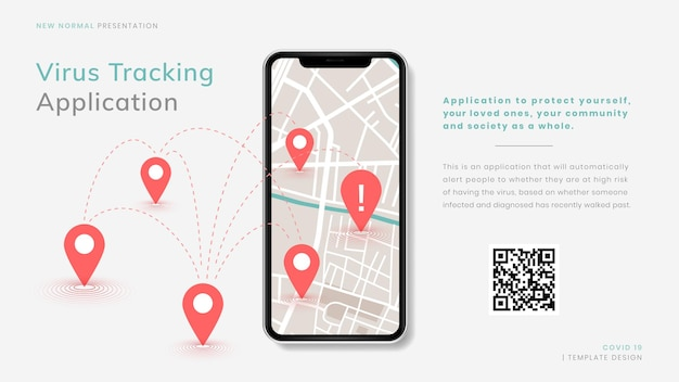 Covid-19 virus tracking app nieuwe normale presentatie