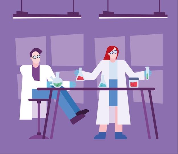 Covid 19 virus vaccin onderzoek en chemische vrouw man aan tafel ontwerp van 2019 ncov cov en coronavirus thema vectorillustratie