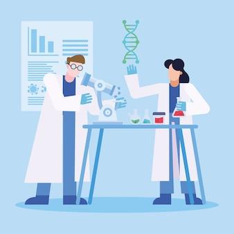 Covid 19 virus vaccin onderzoek en chemische vrouw man met kolven ontwerp van 2019 ncov cov en coronavirus thema vectorillustratie