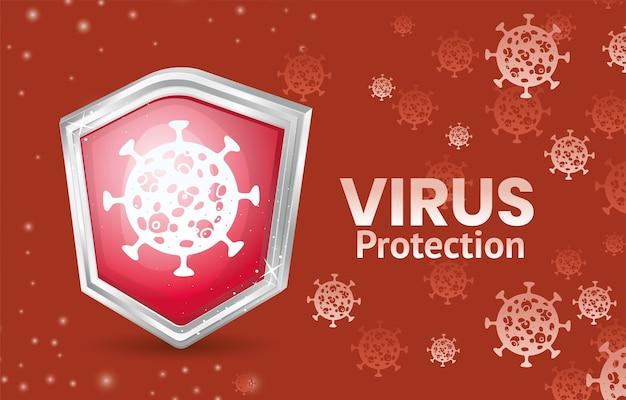 Covid 19 virusbeschermingsschildontwerp van 2019 ncov cov en coronavirus-thema