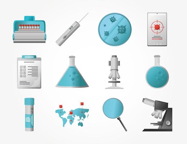 Covid 19 virusonderzoek en vaccinatiesymbolen decorontwerp van 2019 ncov cov en coronavirus-thema