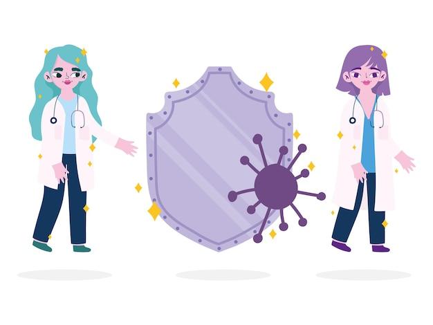 Covid 19-virusschild en vrouwelijke doktersontwerp van het thema ncov cov en coronavirus 2019