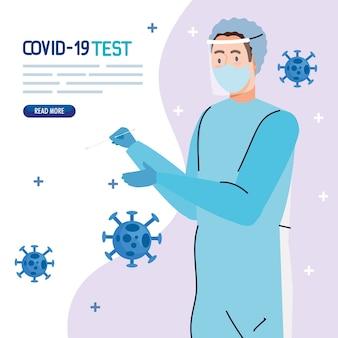 Covid 19-virustestarts met maskeruniform ontwerp van ncov cov en coronavirus-thema