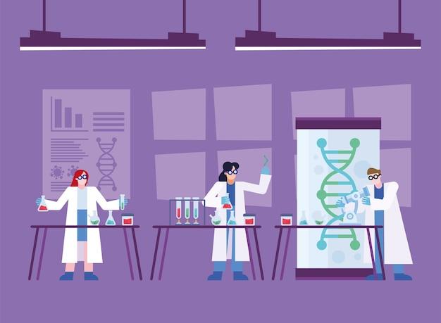 Covid 19 virusvaccin onderzoek en chemische mensen aan tafels ontwerp van 2019 ncov cov en coronavirus thema vectorillustratie