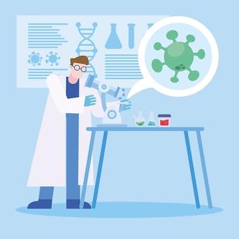 Covid 19-virusvaccinonderzoek en chemische man met microscoopontwerp van 2019 ncov cov en coronavirus-thema vectorillustratie