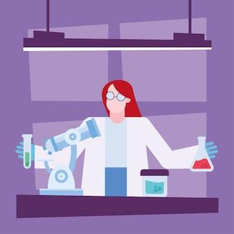 Covid 19-virusvaccinonderzoek en chemische vrouw met kolvenontwerp van 2019 ncov cov en coronavirus-thema vectorillustratie