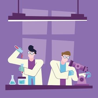 Covid 19-virusvaccinonderzoek met chemisch mannenontwerp van 2019 ncov cov en coronavirus-thema vectorillustratie
