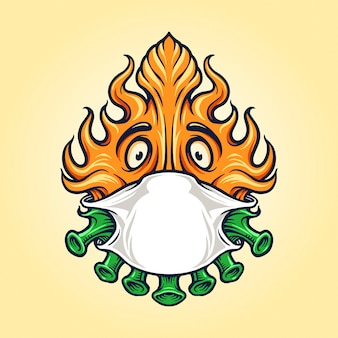 Covid fire met masker voor mascotte-logo