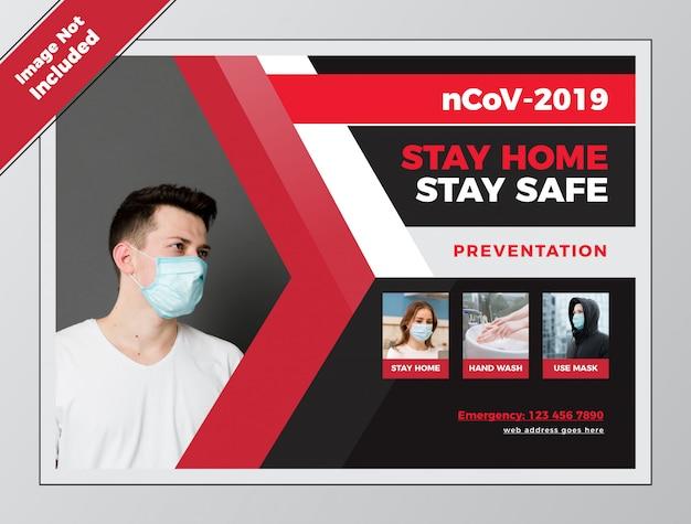 Covid health blijf veilig horizontale flyer voor coronavirus