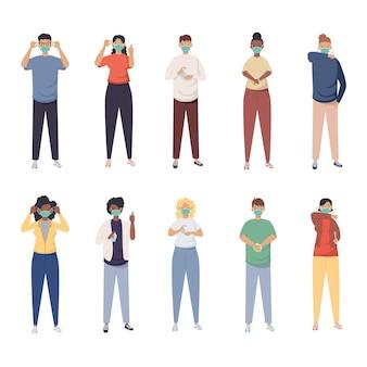Covid-preventie, groepsmensen die het ontwerp van de medische maskerillustratie gebruiken