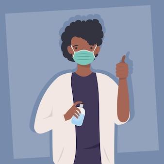 Covid-preventie, man afro die medisch masker met fles antibacterieel in het ontwerp van de handenillustratie draagt