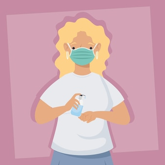 Covid-preventie, vrouw die medisch masker met antibacteriële fles draagt overhandigt roze achtergrondillustratieontwerp