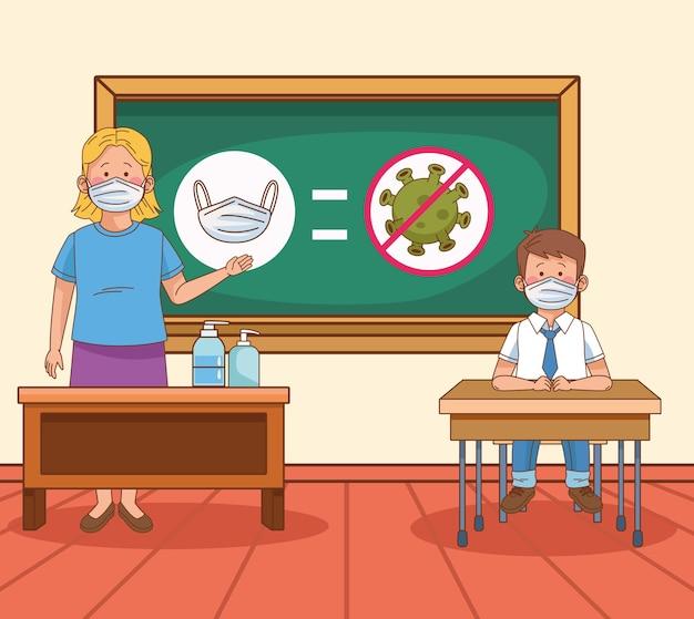 Covid preventief op schoolscène met leraar en studentjongen in klaslokaal vectorillustratie