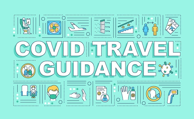 Covid reisbegeleiding woord concepten banner. sociale afstand bewaren in het vliegtuig. infographics met lineaire pictogrammen op groene achtergrond. geïsoleerde typografie.