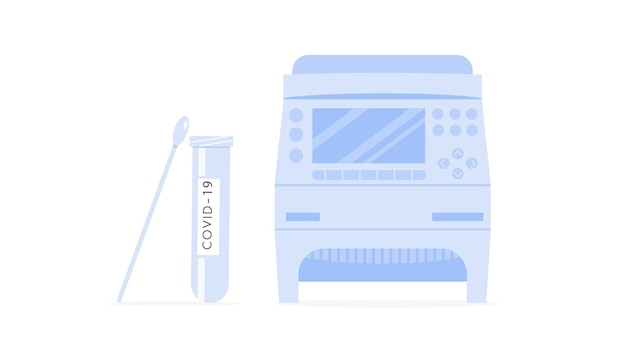 Covid rt pcr-machine, testbuis en wattenstaafje. thermocycler voor coronavirus-test. dna-versterker