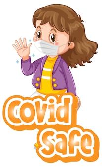 Covid safe-lettertype in cartoonstijl met een meisje met een medisch masker op een witte achtergrond