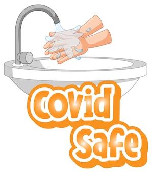 Covid safe-lettertype in cartoonstijl met handen wassen door watergootsteen geïsoleerd op een witte achtergrond
