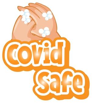 Covid safe-lettertype in cartoonstijl met handen wassen met zeep op wit wordt geïsoleerd