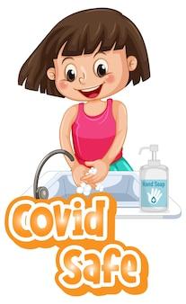 Covid safe lettertypeontwerp met een meisje dat haar handen wast op een witte achtergrond