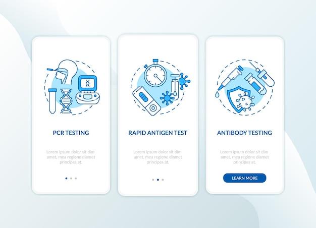 Covid-testtypen onboarding mobiele app-paginascherm met concepten