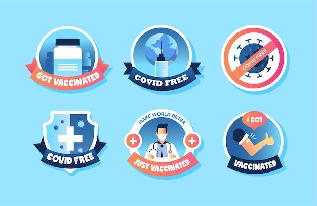 Covid vaccin badge stickers