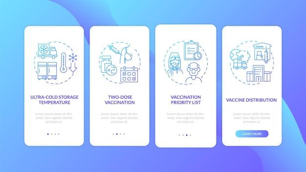Covid-vaccinatie onboarding mobiele app-pagina met concepten