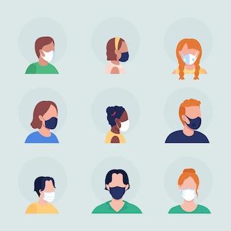 Covid verspreiding preventie semi egale kleur vector karakter avatar met masker set. portret van voor- en zijaanzicht. geïsoleerde moderne cartoon-stijlillustratie voor grafisch ontwerp en animatiepakket