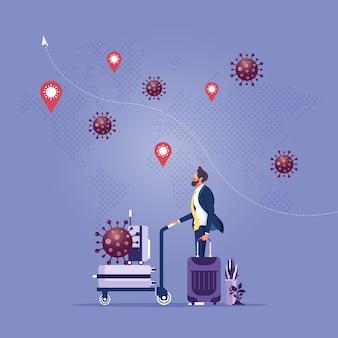 Covid-virus heeft invloed op reis- en toeristische zakenmanreizigers met bagage omgeven door covid-viruspathogenen