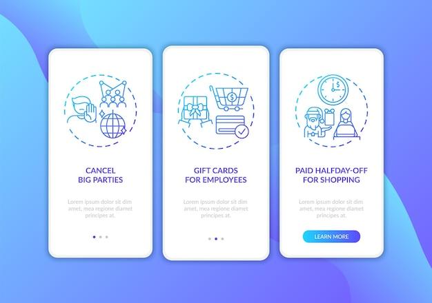 Covid-vriendelijke kerstfeestjes aan boord van het scherm van de mobiele app met concepten