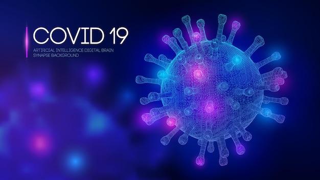 Covid19 3d-weergave van virus vectorillustratie van uitbraak van coronavirus griepachtergrond