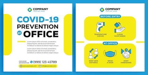 Covid19-campagnefeed instagram in platte ontwerpstijl